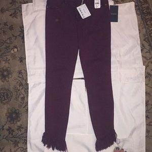 Frame shredded bottom jeans